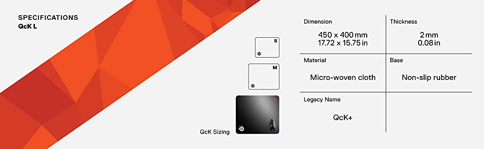 SteelSeries QcK+ - Alfombrilla de ratón de juego, 450mm x 400mm ...
