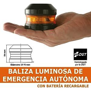 Baliza v16 homologada, de emergencia, con bateria recargable magnetica y compacta