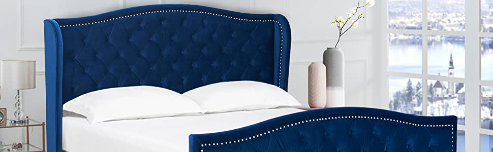 Tufted Wingback King Bed