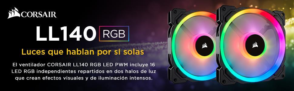 Corsair LL140 RGB Ventilador de PC (140 mm, Doble Halo RGB LED PWM ...