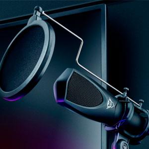 Microfone Streaming GXT 232 Mantis USB com tripé para fluxos no YouTube, Twitch e Facebook