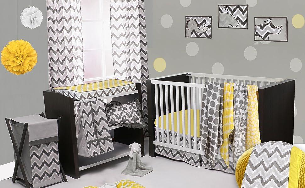Bacati Ikat Yellow/Grey Bedding Collection