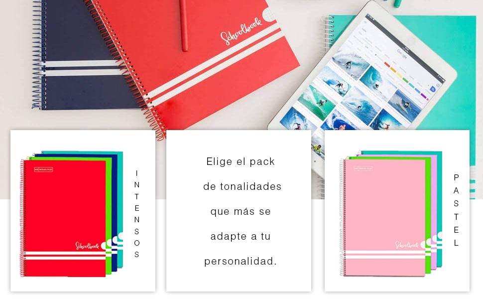 Miquelrius - Pack 3 Cuadernos A4 Cuadriculados, Espiral Microperforado, Cubierta de Polipropileno Opaco, Tamaño 210 x 297 mm, 4 Taladros para 4 Anillas, 200 Hojas de 70 g/m² y 8 Franjas de Color, Cuad: Amazon.es: Oficina y papelería