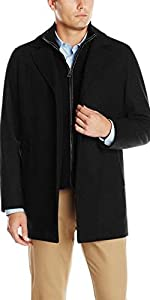 Classic Melton Top Coat with Faux Leather Details
