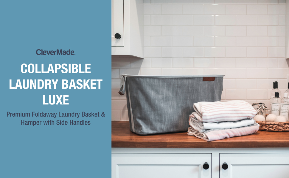 Premium foldaway laundry basket and hamper with side handles