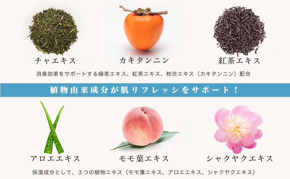 消臭効果をサポートする緑茶エキス、紅茶エキス、柿渋エキス(カキタンニン)配合。保湿成分として、3つの植物エキス(モモ葉エキス、アロエエキス、シャクヤクエキス)