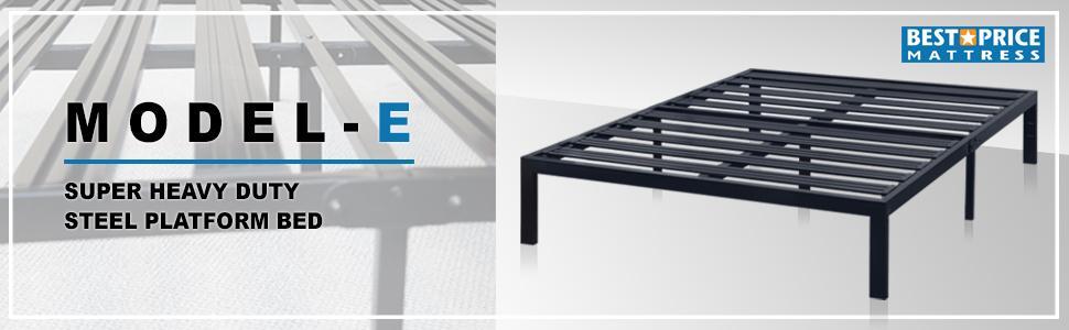 heavy duty steel slat platform bed frame box spring mattress foundation bed raiser sturdy modern