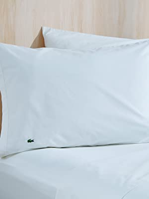solid cotton percale sheets soft light fitted flat pillowcase pillow bed set lacoste crocodile