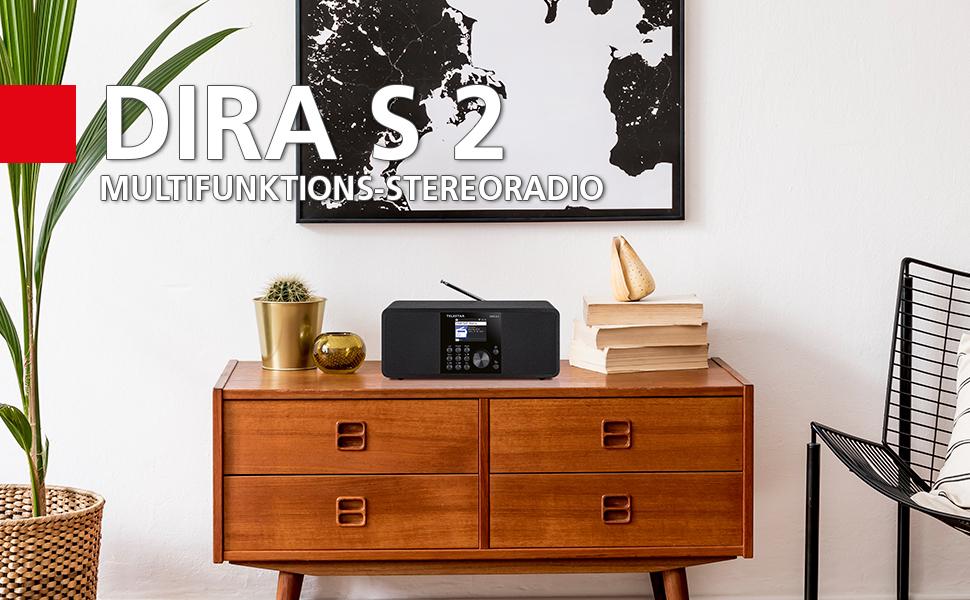 DIRA S 2, TELESTAR, Stereo, DAB+, Radio, Internetradio, Hybrid, Smart Radio, Bluetooth, USB Record