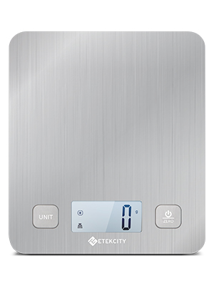 This kitchen scale has a very slim design larger platform and has a bright LED display