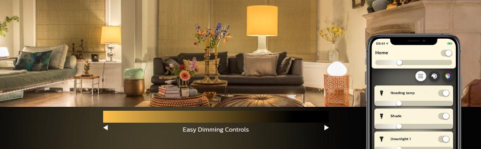Philips; Hue; smart lighting; smart home; LED; white light; dimming; app controlled; Hue Hub