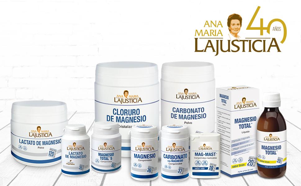 Ana Maria Lajusticia - Magnesio total – 200 ml (sabor limón). Disminuye la fatiga y mejora el funcionamiento del sistema nervioso. Apto para veganos. Envase para 20 días de tratamiento.: Amazon.es: Salud