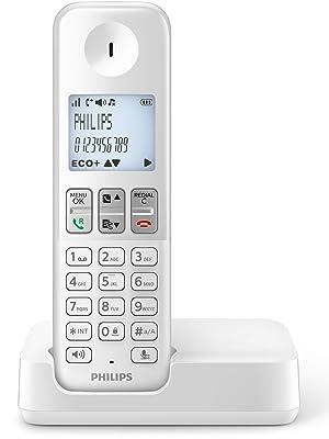 Philips D2501W/34 - Teléfono Fijo Inalámbrico (16 Horas, Retroiluminación, HQ-Sound, Manos Libres, Identificador de Llamadas, Agenda 50 Nombres y números, Plug & Play, Eco+) Blanco: Amazon.es: Electrónica
