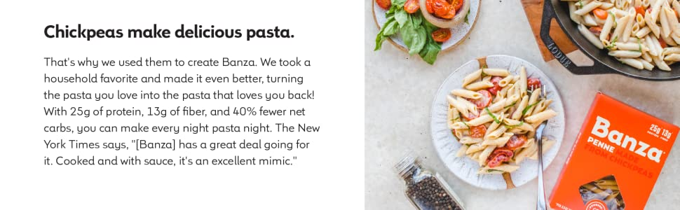 banza, chickpea pasta, high protein, black bean pasta, lentil pasta, vegan, non gmo