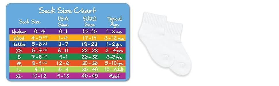 jefferies socks size chart