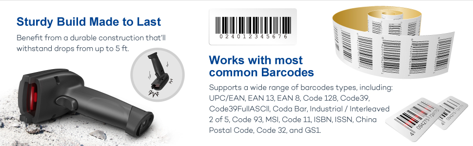 Barcode Scanner TaoTronics 2-in-1 Bluetooth Barcode Scanner Wireless and  Wired Portable Bar Code Scanner USB Barcode Reader for Computer, iPhone  iPad