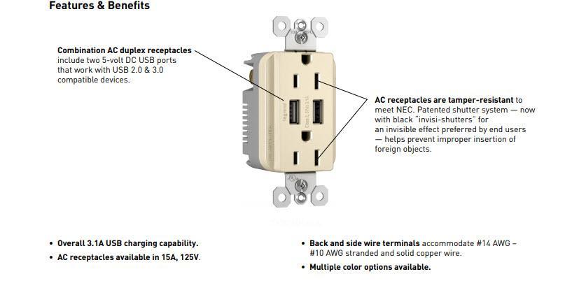legrand pass seymour tm826usbwccv6 3 1a usb duplex 15a vision rh amazon com iPhone USB Wiring-Diagram USB Cable Wiring Diagram Step Down