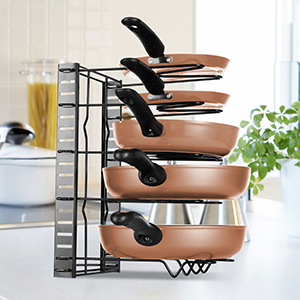 20,5 x 21 x 29 cm Soporte Tapas Ollas 4 Niveles Negro Armario Cocina 1 Ud Relaxdays Organizador de Sartenes Hierro