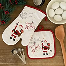 elrene home fashions christmas holiday oven mit and pot holder