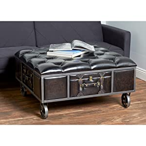 Fabulous Amazon Com Deco 79 Traditional Wheeled And Tufted Storage Ibusinesslaw Wood Chair Design Ideas Ibusinesslaworg