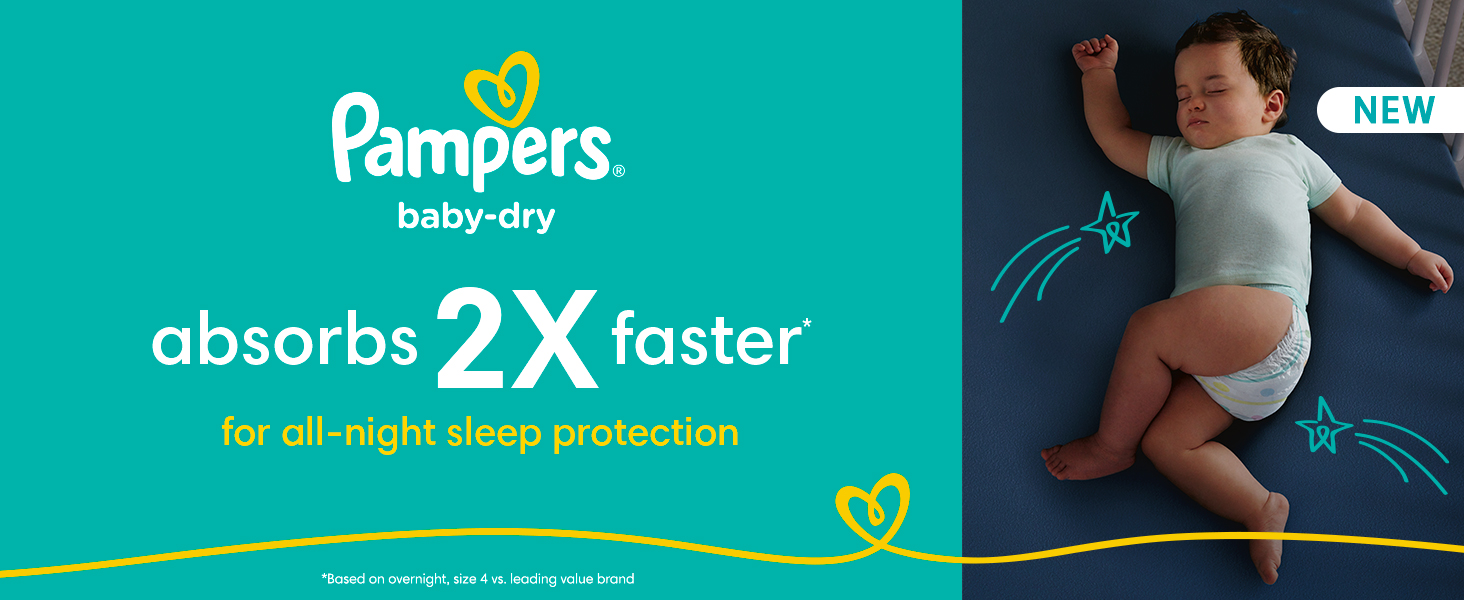 Pampers Baby-Dry Absorbs 2X Faster for all-night sleep protection