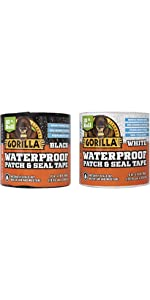 Gorilla Combo Waterproof Patch & Seal Tape, Black and White