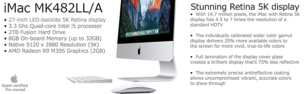 Apple certified pre-owned, imac, MK482LL/A; Apple certified refurbished; recertified imac; apple