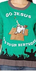 Funny Christmas Sweaters,Ugly Christmas Sweaters, Christmas Sweaters for women, Jesus Sweater