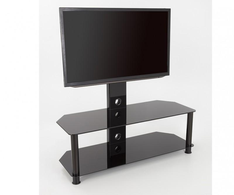 avf sdc1140 a tv stand for up to 55 inch tvs black glass chrome legs home audio. Black Bedroom Furniture Sets. Home Design Ideas