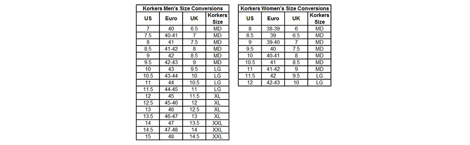 winter boots size chart