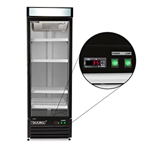 DUURA DVRG1 Stainless Steel 27-inch Single Glass Door Reach-in Commercial Refrigerator with Bottom Mounted Compressor Silver 23 Cubic feet