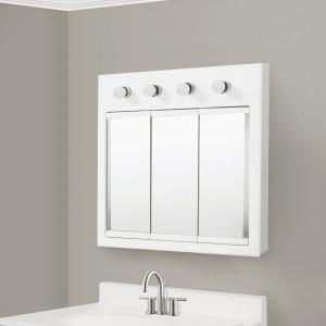 Amazon Com Design House 532382 Concord Lighted Tri View Mirrored Medicine Cabinet White 30 Home Improvement