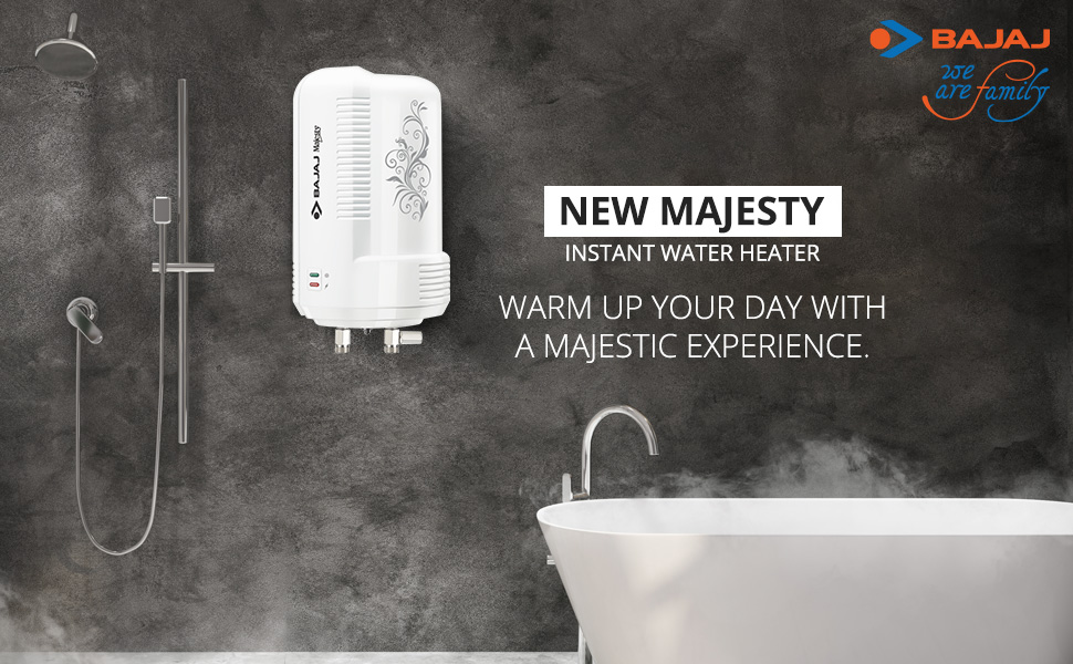 Bajaj New Majesty Instant 3 LTR Vertical Water Heater, White
