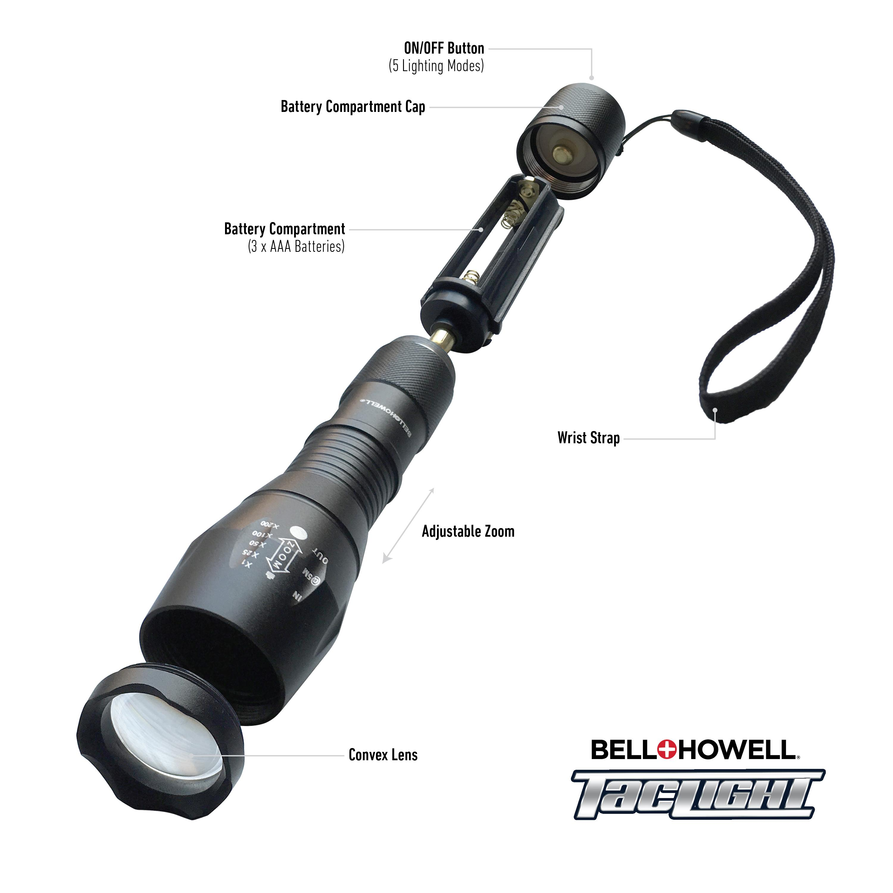bell howell 1176 taclight high powered tactical flashlight with 5. Black Bedroom Furniture Sets. Home Design Ideas