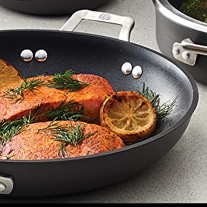 Close Up of Salmon Cooking in Pan