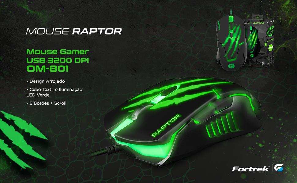 Mouse Gamer Raptor usb 3200 dpi om-801 design arrojado cabo textil led verde 6 botões + scroll