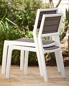 Keter - Silla de jardín exterior Harmony sin brazos, Color Beige / topo: Amazon.es: Jardín