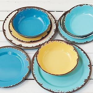 indoor/outdoor dinnerware; melamine dinnerware; dinnerware set for outdoors; rustic looking melamine