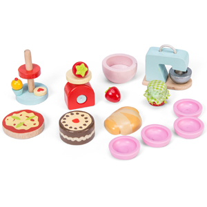Le Toy Van Wooden Make And Bake Doll's House Accessories Set With Mixer, Cake, Cake Stand, Pizza, Bowls, Scales