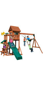 Playful Palace, PB 8331, swing set for kids, swing set with slide, wooden swing set, kids playset