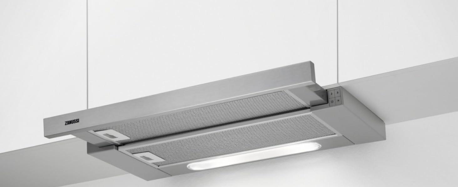 Zanussi ZHP62350XA Campana extractora, Control Mecánico, 3 niveles de potencia + intensivo, Potencia hasta de 448 m3/h, Nivel de ruido de 62 dB(A), Luces LED, Extraíble, Gris/Inox, 60 cm: Amazon.es: Grandes electrodomésticos
