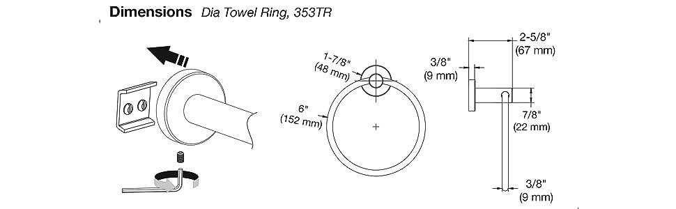 dia towel ring dimensions