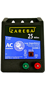 25 mile charger, fence energizer, fencing, zareba, ac power