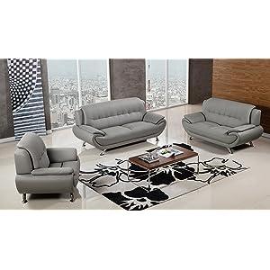 American Eagle Furniture Highland 3 Piece Living Room Faux Leather Sofa Set