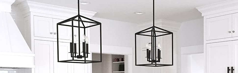 Sea Gull Lighting Perryton Four-Light Hall or Foyer Light Fixture, Blacksmith Finish