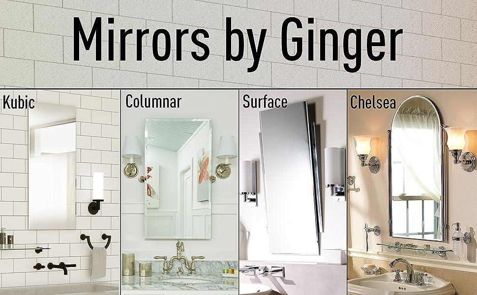 Amazon Com Ginger Canterbury Mirrors 26 X 38 Polished Chrome Home Kitchen
