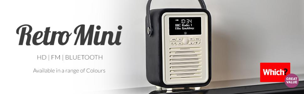 VQ Bluetooth Speaker and Digital Radio with FM /& HD-FM Retro Mini Black Dual Alarm Clock /& Mains // Battery Powered
