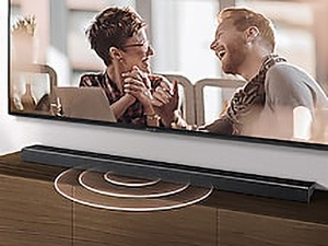 Photo demonstrating how sound for dialog comes out of the center of the soundbar