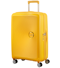 soundbox; american tourister; spinner m; suitcase; medium; check-in; golden yellow