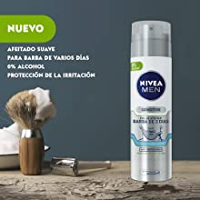 NIVEA MEN Sensitive Gel de Afeitar Barba de 3 Días 200 ml - 3 ...
